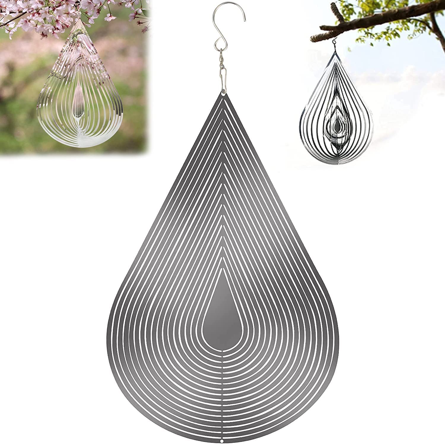 Wind Spinner 3D Flowing, Silver Water Drop Rotating Wind Spinners Outdoor Metal for Yard and Garden, Hanging Wind Garden Spinner Indoor Outdoor Decor Wind Spinners Outdoor Clearance Hook(11.8X 7.8in)