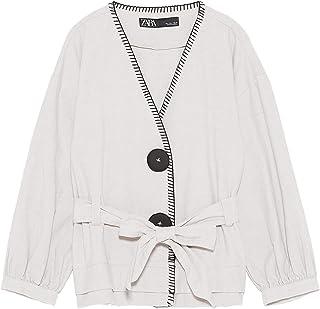 Zara Mujer Cazadora pespuntes combinados 0068/021 (X-Small)