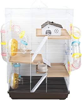 GNB PET Large Hamster Cage DIY Habitat, Multi-Level Cage with Tunnels & Complete Accessories, Brown
