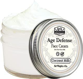 4 Oz. Age Defense Face Cream With Aloe Vera + Goat Milk. Organic Facial Moisturizer, Natural Face Moisturizer Cream, Natural Face Cream (Coconut Milk)