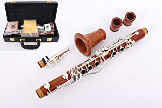 Yinfente B-Flat Clarinete Eb de cuerpo de madera de palisandro con placa plateada para llave de 17 teclas + lengüetas + almohadillas