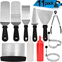 Griddle Accessories - 11 Pcs Professional Heavy Duty Stainless Steel BBQ Spatula Grill Tool Set for Flat Top Cooking, Camping and Tailgating