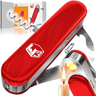 W3 Gadgets - Multi Tool with Windproof, Flamless USB Rechargeable Coil Lighter, 2.4 inch Folding Blade, Corkscrew, Bottle Opener, Flathead Screwdriver