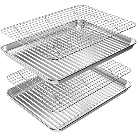 ROTTAY Baking Sheet with Rack Set (2 Pans + 2 Racks), Stainless Steel Cookie Sheet with Cooling Rack, Nonstick Baking Pan, Warp Resistant & Heavy Duty & Rust Free, Size 16 x 12 x 1 Inches