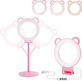 Lusweimi 6-inch Mini LED Selfie Ring Light kit 3000-5500K Adjustable Desktop Lamp USB Plug with Stand for YouTube Makeup/Live/Vlogs, Beauty Lovely Shape with 3 Light Modes &11 Brightness Level (Pink)