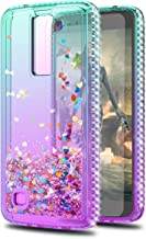 LG Phoenix 2 Case,LG K350/ LG Escape 3 Cases with HD Screen Protector,KaiMai Glitter Moving Quicksand Clear Cute Shiny Phone Case for LG K8 2016-Aqua/Purple