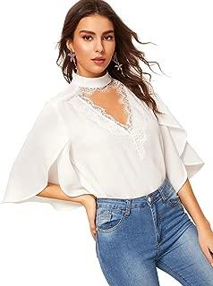 Romwe Women's Elegant Cut Out V Neck Eyelash Lace Trim Flounce Sleeve Blouse Top Shirts