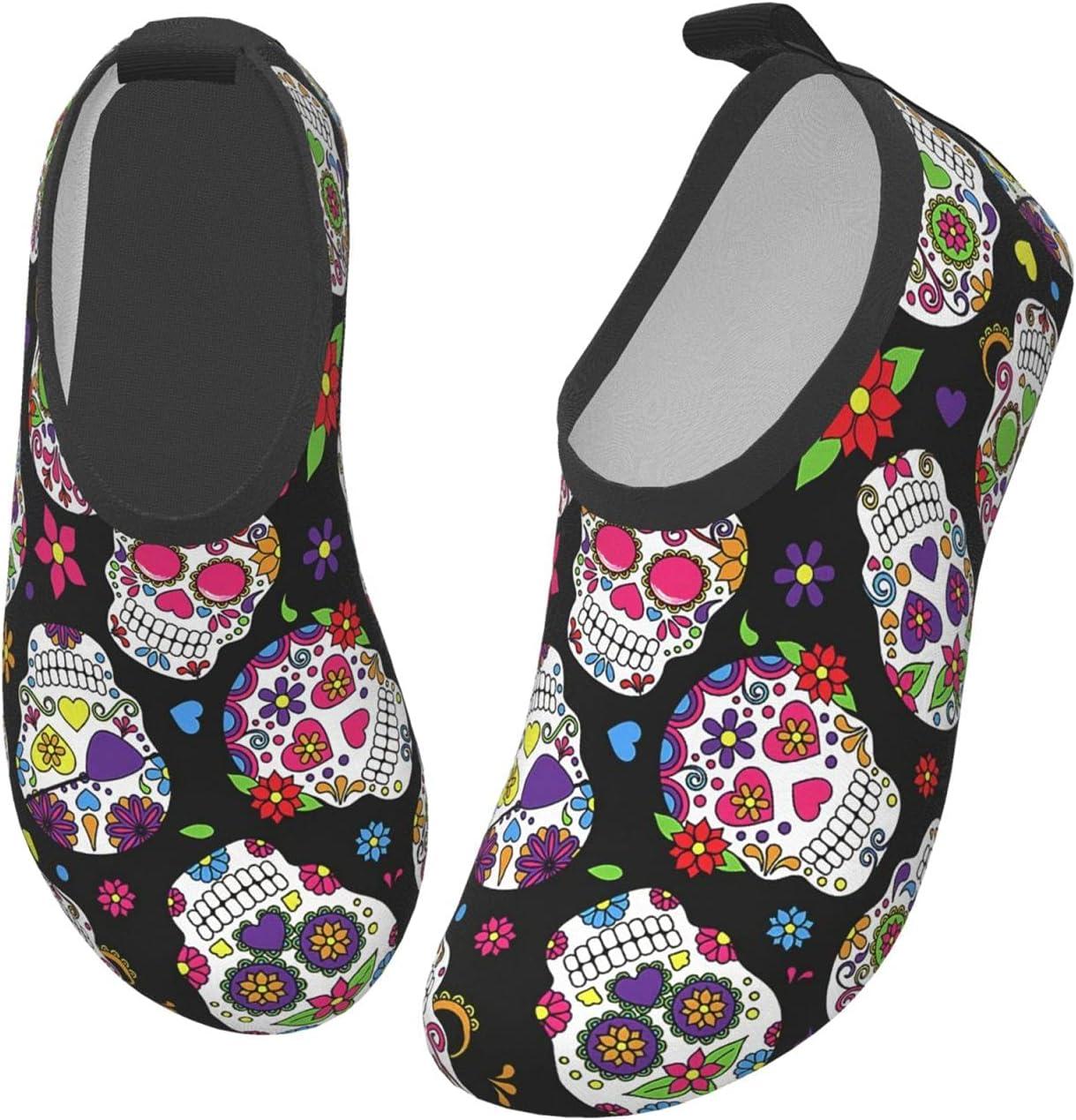 wobzfrok Sugar Skull Kids Water Shoes Girls Boys Toddler Non-Slip Quick Dry Aqua Socks for Beach Swim Walking 28/29