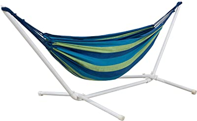 Amazon Basics Polycotton Double Hammock with White Easy Assembly Powder-Coated Steel Stand - Blue and Green Stripe