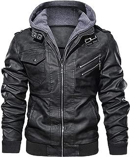 Men's Vintage Removable Hooded Slim Motorcycle Faux Leather Bomber Jacket