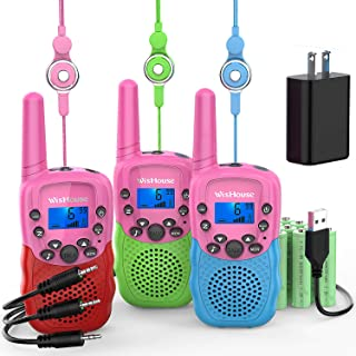 Wishouse Kids Walkie Talkies Rechargeable 3 Pack,Indoor Games Toys with Flashlight for..