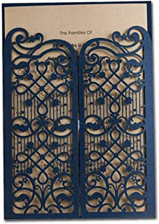 WISHMADE Elegant Navy Blue Laser Cut Wedding Invitations Cards with envelopes, Also for 50th 60th Birthday Engagement Shower Graduation (50 Pieces)