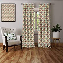FOEYESEE Sheer Curtains Valentine`s Day Happy Flying Hearts with Wings Closed Eyes Symbols of Love and Romanticism Multicolor Bedroom Patio Sliding Door W72 xL72