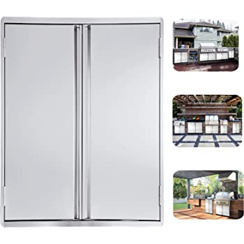 Marada BBQ Access Single Door Kitchen Outdoor with Vents 304 All Brushed Stainless Steel Flush Mount Single Door Wall Door for BBQ Island /& Grill,Outdoor Kitchen 17 W x 24 H