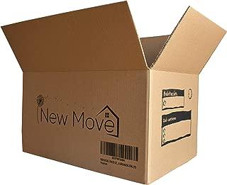 NEW MOVE- Pack de 15u -450x300x250mm - Canal simple reforzado superior, muy resistente- Cajas mudanza, transporte, almacenaje- Dibujo impreso para mejor organización