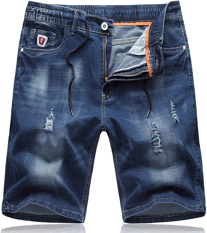 SITENG Men`s Plus Size Elastic Waist Jeans Short Cotton Ripped Denim Short Pants Men