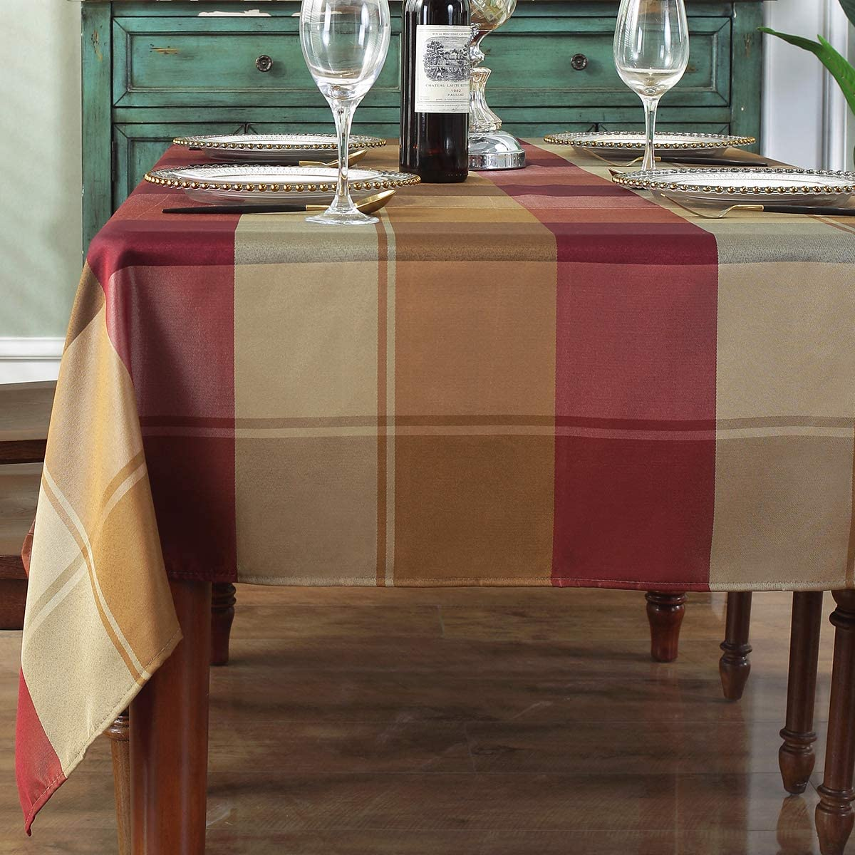 Rectangle Tablecloth Checkered Style Polyester Table Cloth Spillproof Dust-Proof Wrinkle Resistant Heavy Weight Table Cover for Kitchen Dinning Tabletop (Rectangle/Oblong, 52