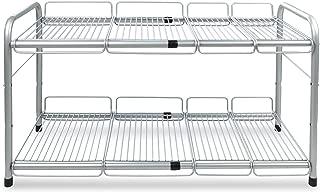 Surpahs 2 Tier Under Sink Expandable Shelf Organizer, Storage Rack (Silver)