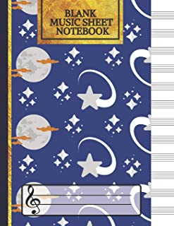 Blank Music Sheet Notebook: Stars and Moon Songwriting Journal: Lined/Ruled Paper And Staff, Manuscript Paper For Notes, Lyrics And Music.