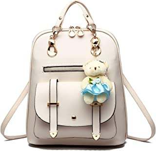 Compact Mini backpack with Bear Pendant for Women,Young Women,Teens,Cute and