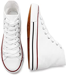 Women's High Top Canvas Sneakers Canvas Shoes Lace up White Black Sneakers Casual Walking Shoes