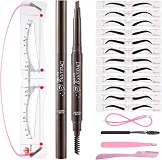 Adjustable Eyebrow Stencils & Eyebrow Pencil, 16 Eyebrow Shaper Kit, Reusable Eyebrow Template With Strap & Eyebrow Razor,...