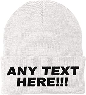 Design Your Own Knit Cap, Custom Text Skull Hat, Personalized Beanie, Embroidered with Color Choices