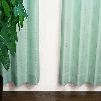 窓美人 ステップLight ドット ストライプ柄カーテン グリーン 2枚組 幅100×丈90cm フック タッセル おしゃれな柄 子供部屋にも