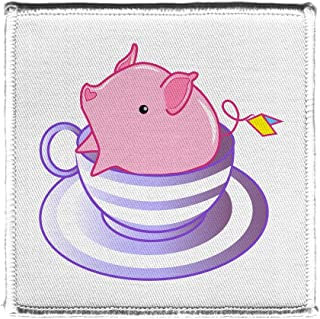Teacup Pig In A Striped Purple Teacup Cute And Adorable Iron On Patch
