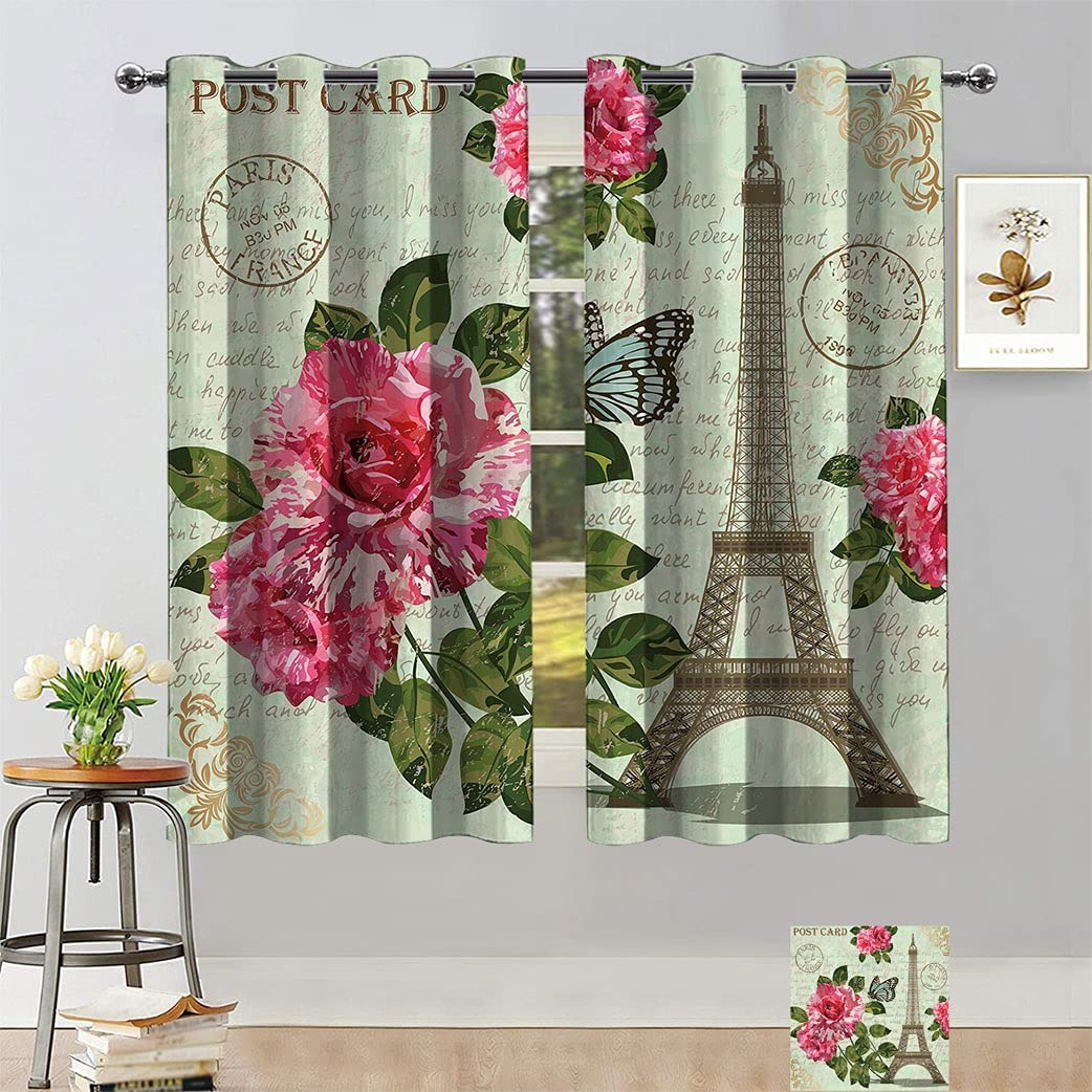 Paris Blackout Curtains Shab SALENEW very popular! Chic Flowers Leaves Romantic Roses Weekly update