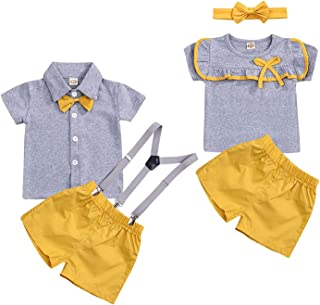 Baby Boy Girl Brother and Sister Matching Fashion Outfits Short Sleeve T-Shirt Tops + Shorts Set