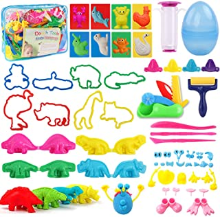 HOLICOLOR 56pcs Clay Dough Tools Dough Play Set with Animal Shape Cutters and Molds, Extruder Tools, Dough Accessories for Kids Party Gift School Prizes