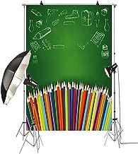 KonPon 5x7ft School Backdrop Colorful Pencils Vinyl Backdrops for Students Photography Backdrops Photo Prop Background KP-005