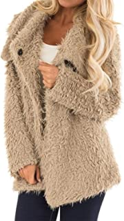 Elapsy Womens Fleece Faux Fur Long Sleeve Jacket with Pockets Open Front Cardigan Coat