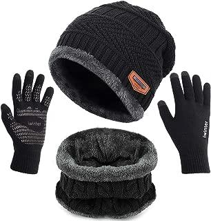 Winter Knit Beanie Hat Neck Warmer Scarf and Touch Screen Gloves Set 2/3 Pcs Fleece Lined Skull Cap for Men Women