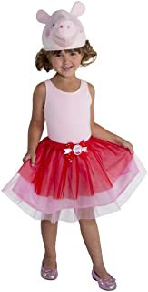 Toddler Size Large Peppa Pig Costume for Girls Deluxe Character Jumpsuit Dress and Laplander Hat 4-6x