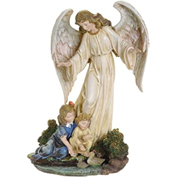 Napco Kneeling Angel with Cross Floral Grey 10 inch Resin Stone Collectible Figurine