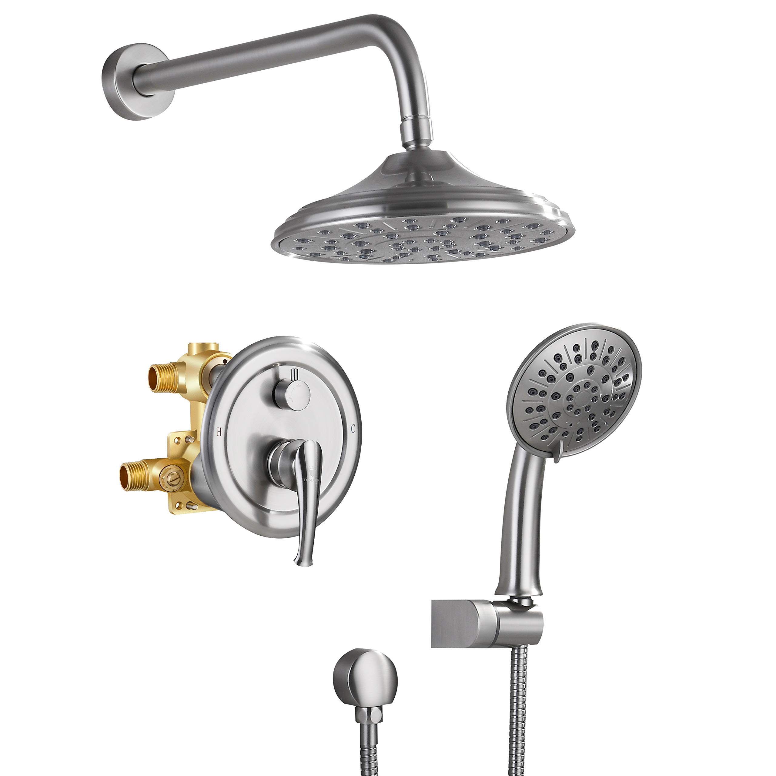 Bath Shower Faucet Set Complete Nickel Brushed Finish Wall Mount Rain Mixer Shower Combo with 8 Inch Shower Head and Shower Handle