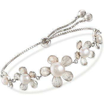 Ross-Simons 4-8.5mm Cultured Pearl Flower Bolo Bracelet in Sterling Silver For Women Adjustable Size