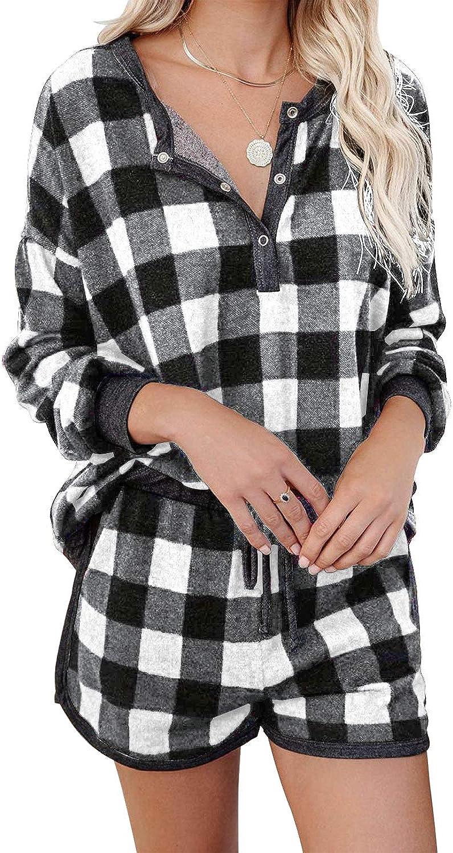MIHOLLWomen Phoenix Mall Plaid Long Sleeve New item V-Neck Pajama Henley T Set Pjs