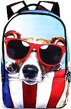 JKPUDUN Cute Cat Dog Print Durable Kids Back to School Backpack Laptop Book Bag