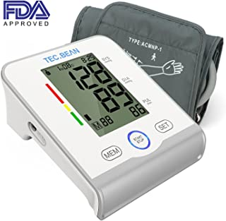 TEC.BEAN Arm Blood Pressure Monitor - Accurate, FDA Approved - Adjustable Cuff,