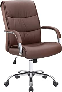 Furmax High Back Office Desk Chair Conference Leather Executive with Padded Armrests,Adjustable Ergonomic Swivel Task Chair with Lumbar Support (Brown)