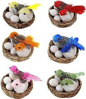 LouisaYork Huevos de Pascua, 6 juegos de decoración creativa de Pascua de simulación de nido de pájaros artificiales y mini huevos de pájaro