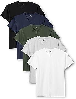 Lower East Herren T- Shirt mit V-Ausschnitt aus 100 % Baumwolle, 5er Pack