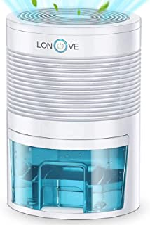LONOVE Dehumidifier - 2200 Cubic Feet Small Dehumidifiers for Home Bedroom Bathroom Basement Closet RV Camper, 800ml (27 oz) Full Auto-Off Portable Electric Mini Dehumidifier for Space