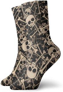 wwoman, Calcetines de vestir estampados para hombres y mujeres Calaveras y huesos Calcetines coloridos divertidos y novedosos Crazy Crew 30 cm