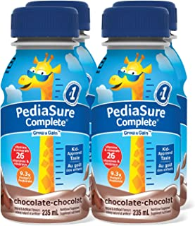 PediaSure Complete, Nutritional Supplement, 4 x 235 mL, Chocolate - Kids nutritional shake, containing DHA and vitamins th...