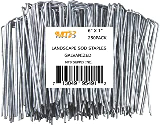 MTB 250 Pack 6x1 inch 11GA(0.12inch) Sod Staples Garden Pins Netting Stakes Ground Spikes Landscape Cover Pegs Anti-Rust Galvanized