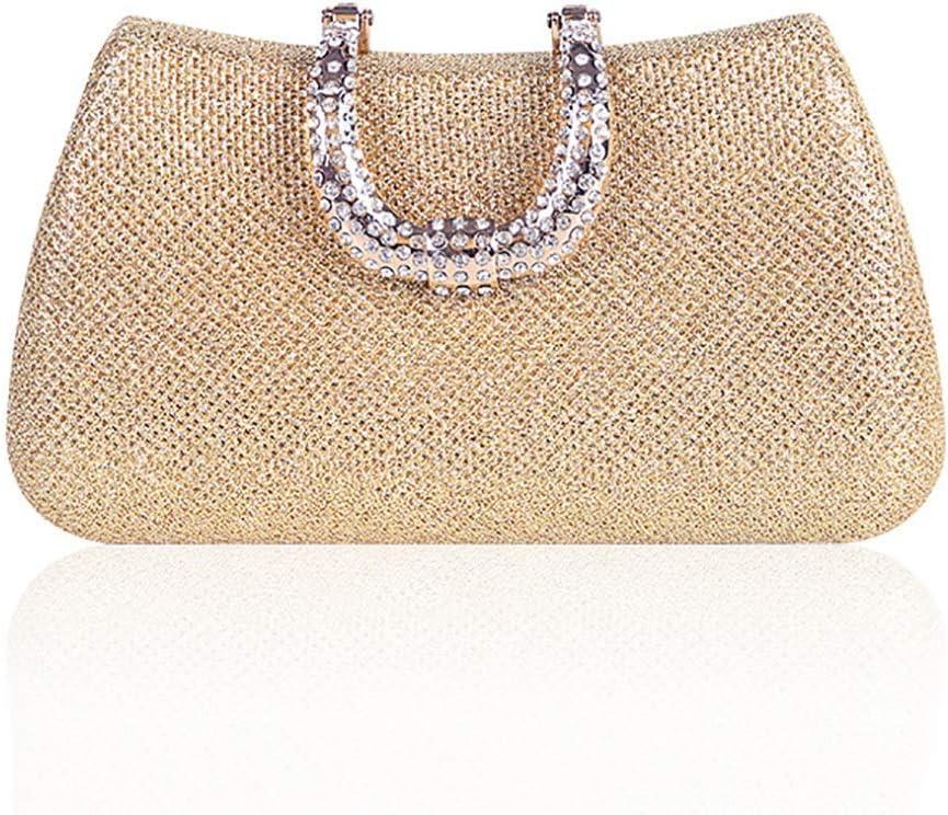 HttKse Evening Bags Joker Evening Dress Dinner Bag Clutch Bag Fashion Shoulder Bag (Color : Gold, Size : 18cm x 10cm)